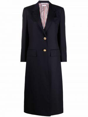 Синее длинное пальто Thom Browne