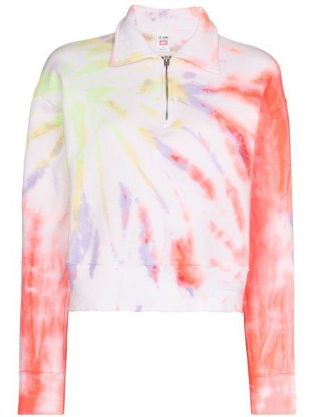 Różowa bluza długa bawełniana z długimi rękawami Re/done