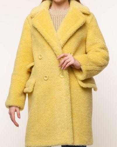 Желтое шерстяное пальто с воротником Aliance Fur