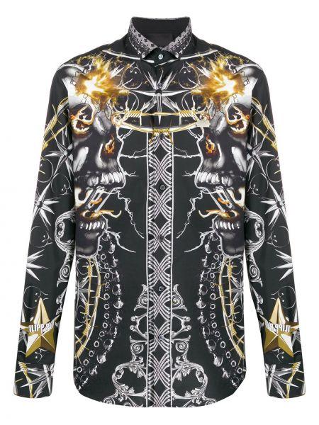 Koszula z długim rękawem klasyczna czarna Philipp Plein