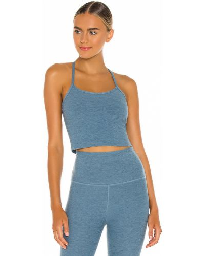 Niebieski crop top na jogę rozciągać Beyond Yoga