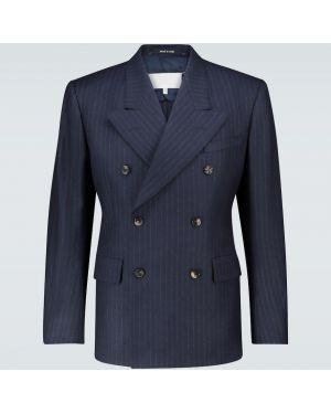 Синий костюм двубортный Maison Margiela