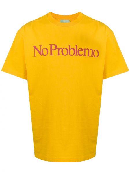 Koszula krótkie z krótkim rękawem prosto żółty Aries
