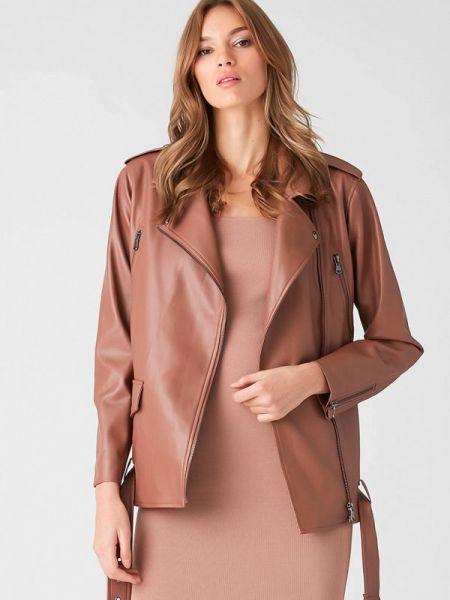 Кожаная куртка весенняя коричневая Love Republic