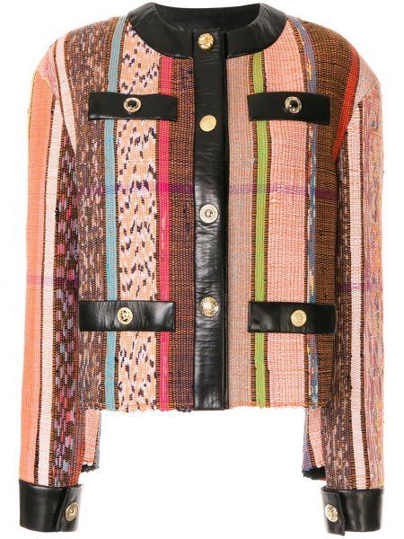Кожаная куртка на пуговицах с подкладкой круглая с круглым вырезом Litkovskaya