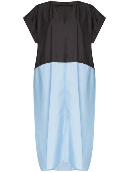 Синее платье миди оверсайз с V-образным вырезом на молнии Vika Gazinskaya