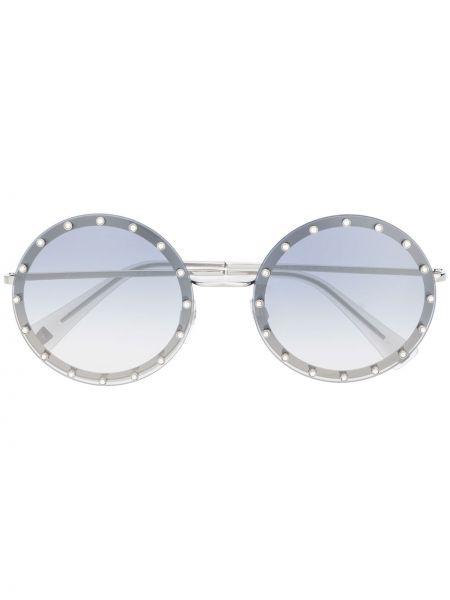 Солнцезащитные очки круглые металлические хаки Valentino Eyewear