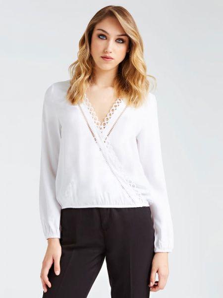 Bluzka z długimi rękawami z haftem z wiskozy Guess