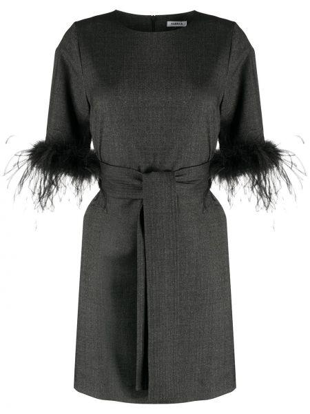 Шерстяное серое платье мини с перьями P.a.r.o.s.h.