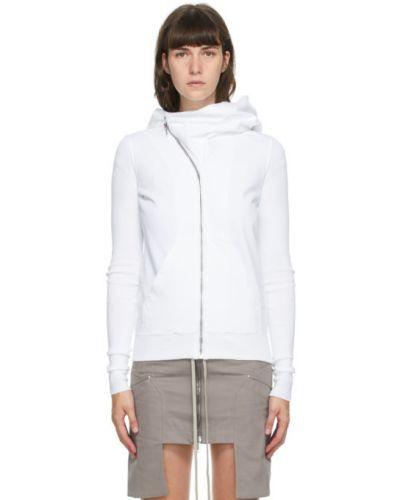 Флисовая белая толстовка с карманами с длинными рукавами Rick Owens Drkshdw