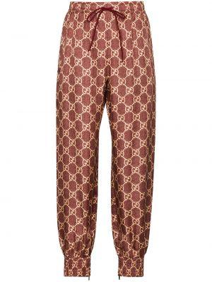 Bawełna z wysokim stanem bawełna prosto sportowe spodnie Gucci