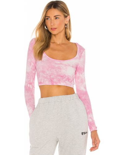 Bawełna włókienniczy różowy crop top z kapturem Superdown