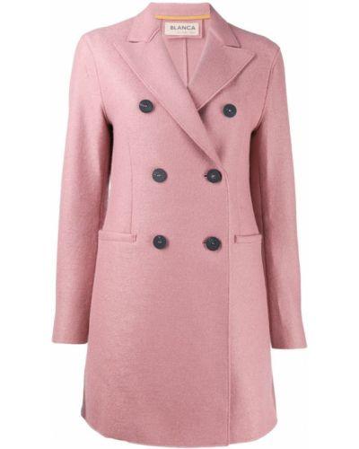Приталенное розовое шерстяное пальто классическое Blanca