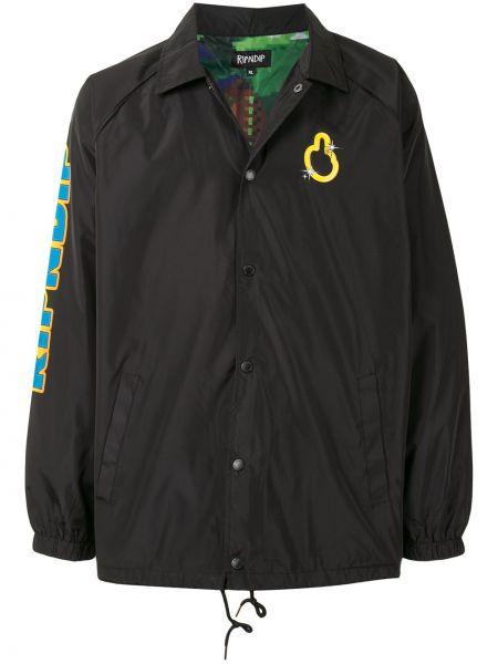 Klasyczna czarna długa kurtka z długimi rękawami Ripndip