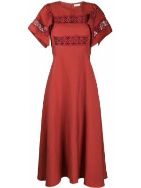 Платье макси с вышивкой с рукавами Sandro Paris