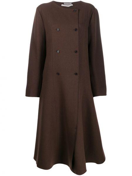 Коралловое расклешенное шерстяное длинное пальто Cherevichkiotvichki