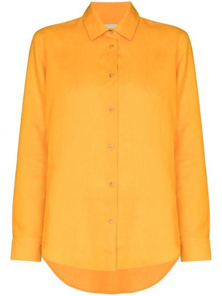 Оранжевая длинная рубашка с воротником на пуговицах Asceno