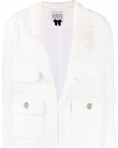 Белый удлиненный пиджак твидовый с воротником Edward Achour Paris