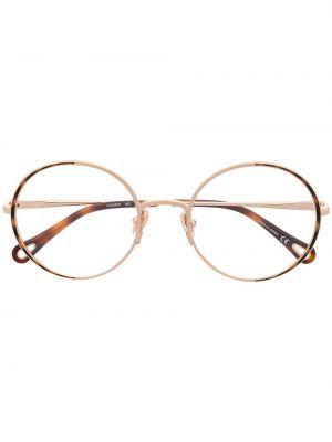Złote oprawka do okularów - brązowe Chloé Eyewear