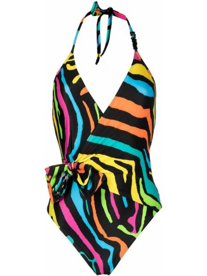 Открытый черный купальник с юбкой с открытой спиной Moschino