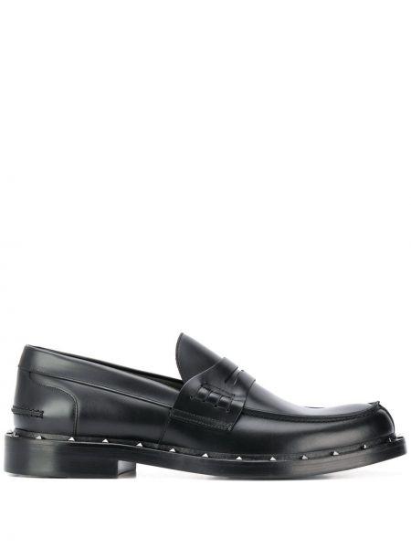 Czarne loafers skorzane Valentino