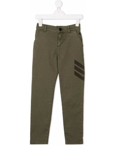 Хлопковые зеленые прямые брюки на пуговицах Zadig & Voltaire Kids