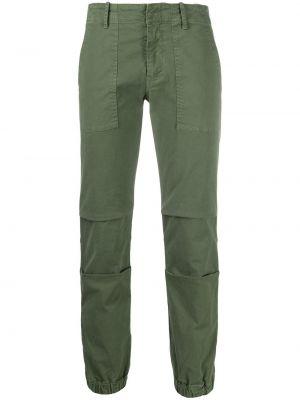 Хлопковые зеленые укороченные брюки эластичные с потайной застежкой Nili Lotan