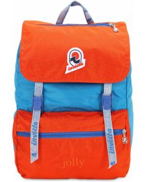 Pomarańczowy plecak z haftem z nylonu Invicta