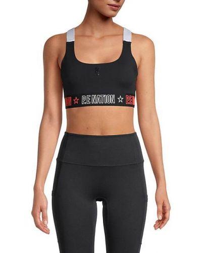 Czarny biustonosz sportowy z nylonu P.e Nation