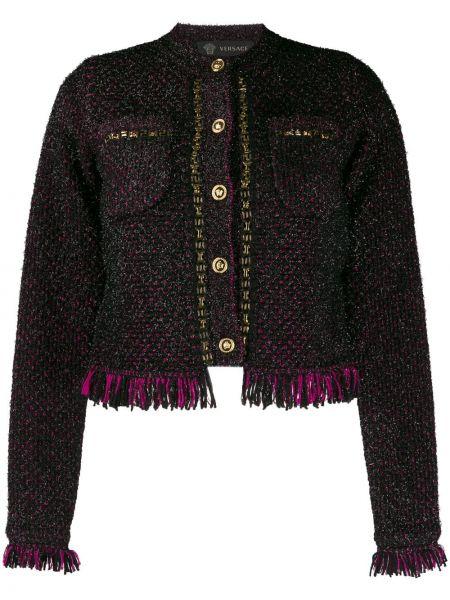 Черный пиджак твидовый с бахромой Versace