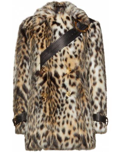 Кожаное пальто двубортное с карманами Versace