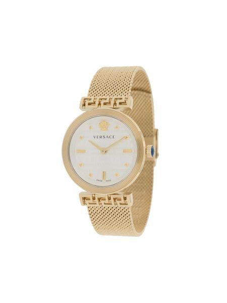 Золотистые кварцевые часы золотые круглые Versace