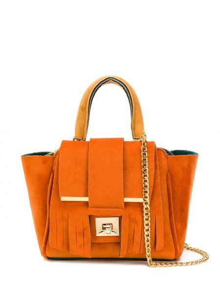 Оранжевая сумка на цепочке с бахромой Alila