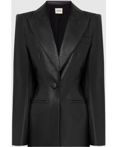 Черный кожаный пиджак Khaite