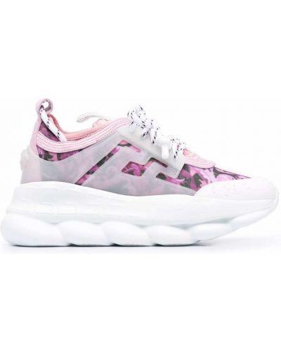 Кожаные кроссовки - розовые Versace