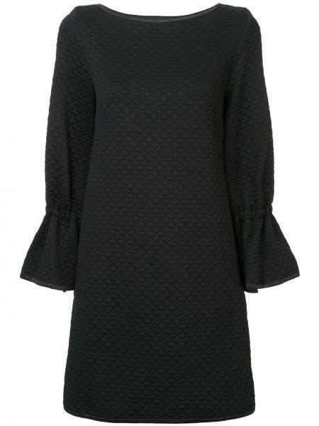 Czarna sukienka mini z długimi rękawami pikowana Osman