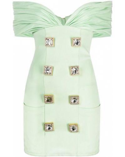Zielona sukienka midi krótki rękaw Balmain