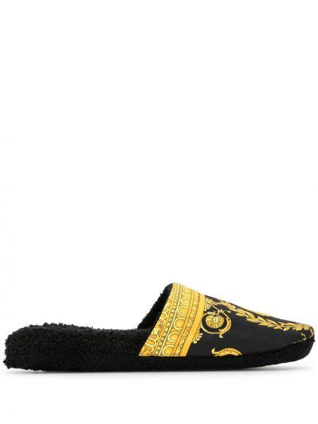 Złote czarne kapcie płaska podeszwa Versace Home