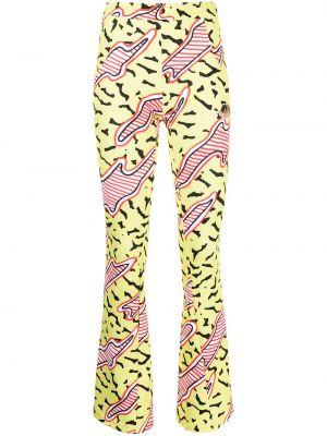 Żółte spodnie z printem Fiorucci