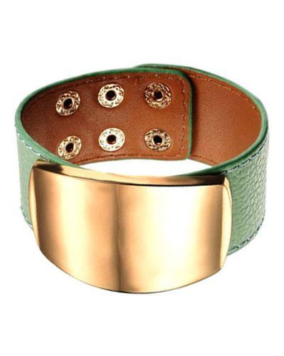 Кожаный браслет зеленый золотой Evora
