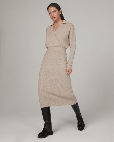 Шерстяное прямое вязаное платье миди 12storeez