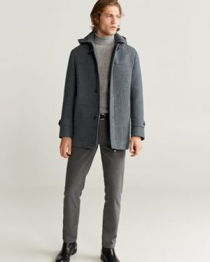 Пальто с капюшоном длинное шерстяное Mango