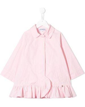 Розовое длинное пальто с оборками Simonetta