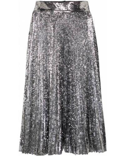 Spódnica midi z cekinami srebrna Dolce And Gabbana