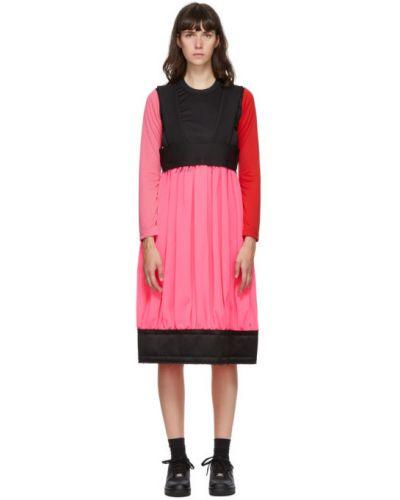 Розовая юбка миди на бретелях с карманами из габардина Comme Des Garçons