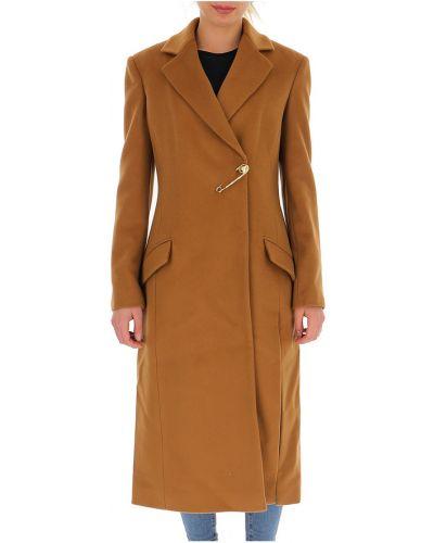 Brązowy długi płaszcz Versace