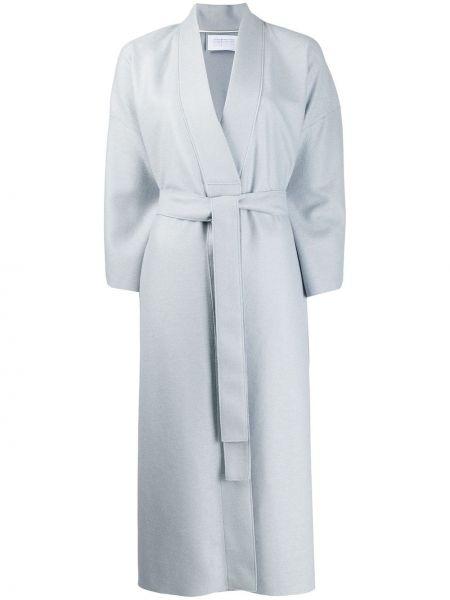Синее шерстяное пальто с запахом с поясом Harris Wharf London