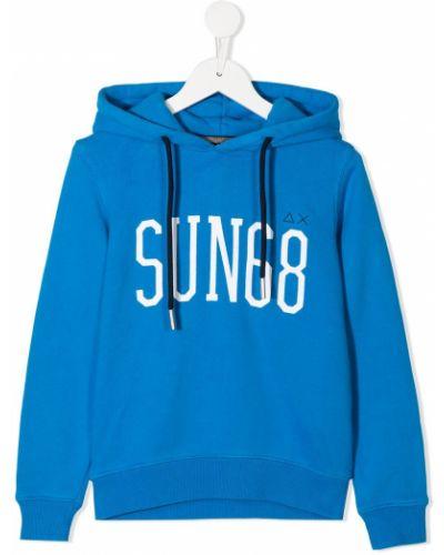 Синяя с рукавами толстовка с капюшоном Sun 68
