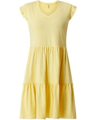 Żółta sukienka rozkloszowana bawełniana Only