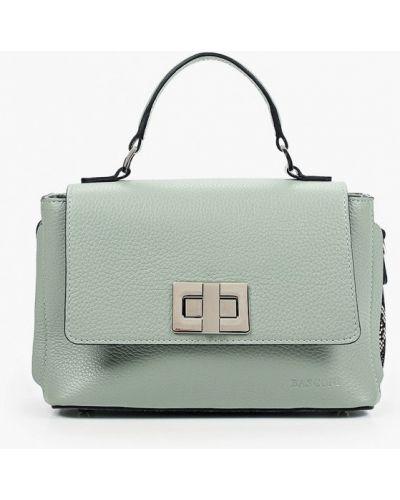Зеленая сумка с ручками из натуральной кожи Basconi